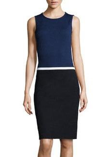St. John Colorblock Mixed Knit Dress, Ink/Onyx/White
