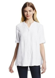 Jones New York Women's Roll Sleeve Pintucked Shirt