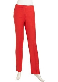 Lafayette 148 New York Flat Stretch Wool Pants, Red