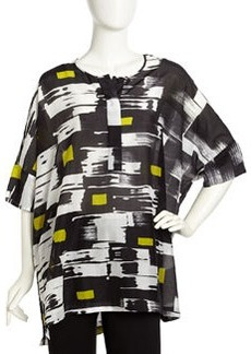 Lafayette 148 New York Graphic-Print Voile Tunic, Black Multi