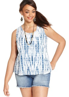 Lucky Brand Plus Size Tie-Dyed Tank Top