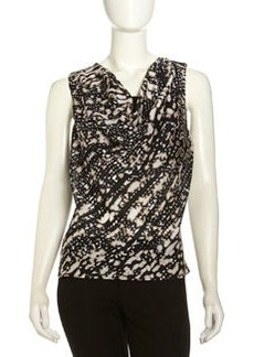 Lafayette 148 New York Jamie Cowl-Neck Printed Blouse, Black/Multi