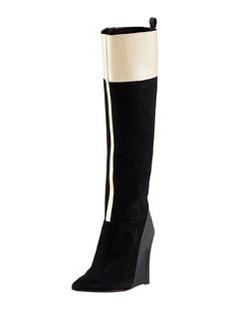 Derek Lam Mila Suede & Leather Wedge Boot, Black/Toffee