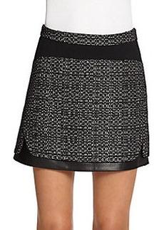 Diane von Furstenberg Coletta Tweed & Leather Mini Skirt