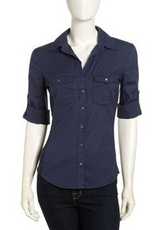 James Perse Contrast-Panel Poplin Shirt, Neptune
