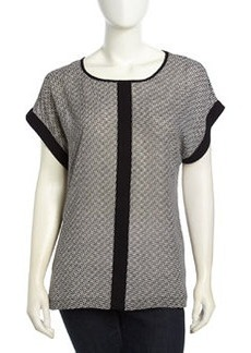 Max Studio Checkboard Pattern Crepe Blouse, Black/White