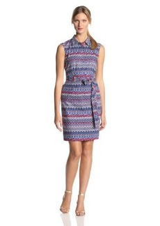 Ellen Tracy Women's Sleeveless Pattern Shirtdress