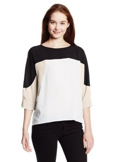 Calvin Klein Women's Three-Quarter Sleeve High/Low Color-Block Top