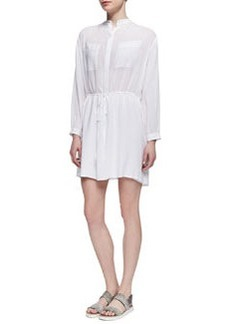 Vince Drawstring-Waist Easy Shirtdress, White
