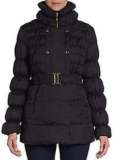 Via Spiga Ruched Double-Breasted Puffer Jacket