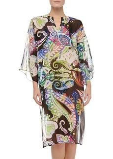 Etro Silk Paisley-Print Bell-Sleeve Caftan