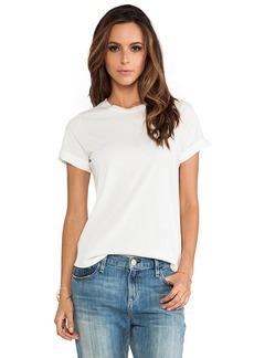 Vince Silk Trim Shirt Tail Tee in White
