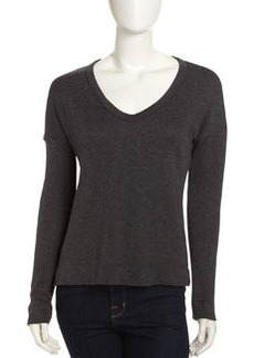 James Perse Wide V-Neck Pullover, Slate