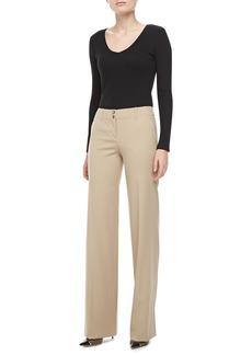Michael Kors Gabardine Wide-Leg Pants, Hemp