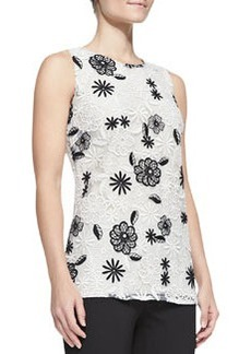 Lela Rose Sleeveless Floral Lace Shell, Ivory/Black