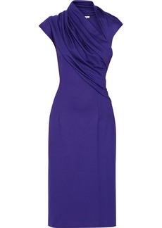Oscar de la Renta Asymmetric draped stretch-ponte dress