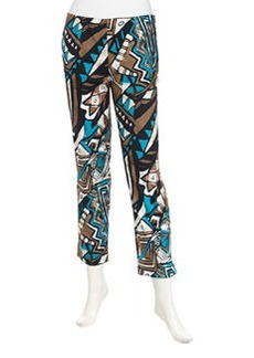Lafayette 148 New York Art Deco Print Ankle Pants, Chai Multi
