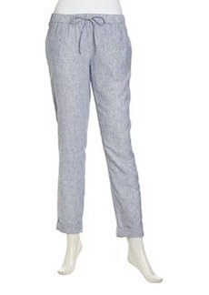 Laundry by Shelli Segal Pinstripe Linen-Cotton Ankle Pants, Beach Blue