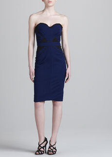Zac Posen Bonded Strapless Jersey Dress, Blue
