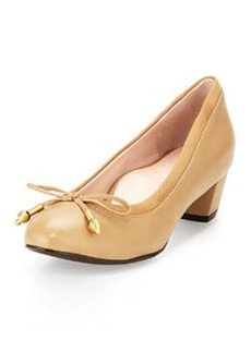 Taryn Rose Fairlawn Leather Low-Heel Bow Pump, Camel
