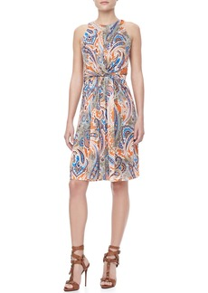 Etro Sleeveless Paisley Jersey Dress, Orange/Multi