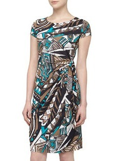 Lafayette 148 New York Art Deco Print Side-Gathered Dress, Chai