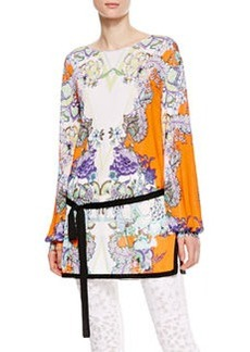 Roberto Cavalli Boat-Neck Floral Tunic, Orange/Violet