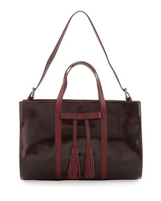 L.A.M.B. Adette Glazed Leather Satchel Bag, Cranberry