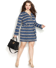 MICHAEL Michael Kors Plus Size Printed Lace-Up Belted Shirtdress
