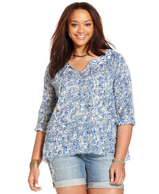 Lucky Brand Plus Size Split-Neck Printed Top