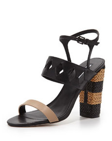Charles David Jungle Woven Diamond Cutout Sandal, Nude/Black