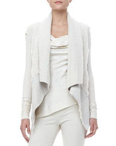 Draped Shearling-Suede Vest   Draped Shearling-Suede Vest