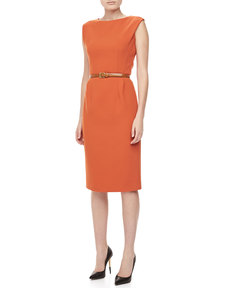 Michael Kors Boucle Crepe Belted Sheath Dress, Paprika