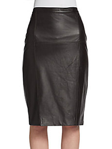St. John Leather Pencil Skirt