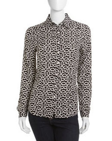 Isaac Mizrahi Graphic Geometric-Print Long-Sleeve Blouse