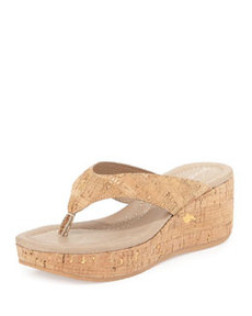 Donald J Pliner Shane Metallic Cork Sandal, Natural Gold
