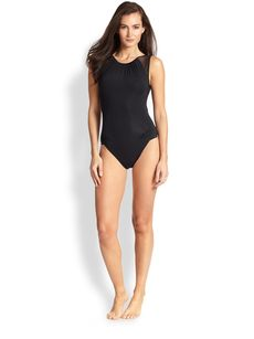 Carmen Marc Valvo One-Piece Shoulder-Detail Swimsuit