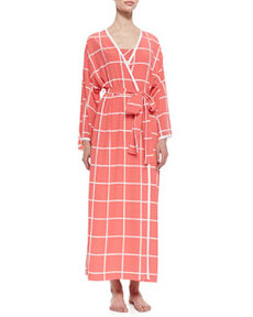Windowpane Print Long-Sleeve Wrap Robe, Sunset   Windowpane Print Long-Sleeve Wrap Robe, Sunset