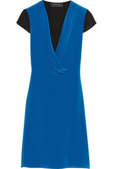 Derek Lam Two-tone silk-cady dress