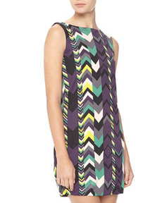 M Missoni Zigzag-Print Jersey Dress, Purple