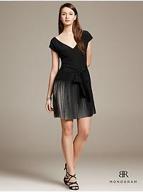 BR Monogram Belted Pleat Dress