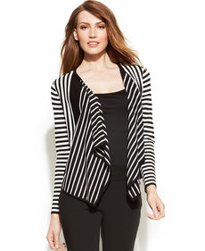 Alfani Petite Striped Open-Front Cardigan
