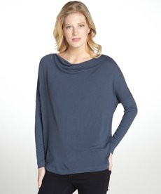 Three Dots blue stretch relaxed drop shoulder long sleeve top