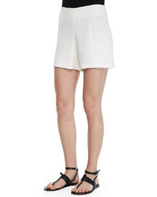 Florencia High-Waist Leather-Trim Shorts   Florencia High-Waist Leather-Trim Shorts