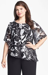 Alex Evenings Print Tiered Blouse (Plus Size)