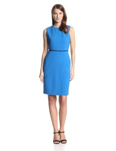 Calvin Klein Women's Sleeveless Sheath Dress with Belt