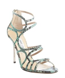 Jimmy Choo blackand seafoam green embossed leather 'Sazerac' pumps