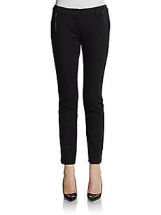 Saks Fifth Avenue BLACK Faux Leather-Trimmed Ankle Pants