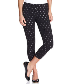 Hue Glitter Dot Cotton Capri Leggings