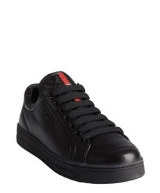 black Prada Sport supple leather lace up flatform sneakers